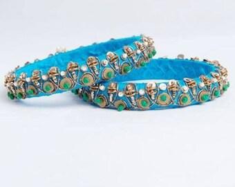 Zardozi bangle/bracelet in blue