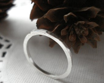 Silver Stacker Hammered Ring
