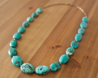 Real Genuine Turquoise Necklace, Chunky Boho Turquoise Necklace, Blue Green Turquoise Beaded Statement Necklace, Graduated Beaded Necklace