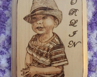 "Personalized Wood Burning Art - Custom Portrait Pyrography - 4"" x 4"" or 6"" x 4"""