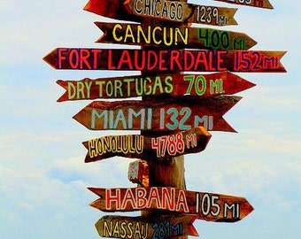 Set of 6 Tiki Signs Directional Signs Tiki . Directional Arrow . Milage & Destination . Outdoor Decor . Tiki Decor
