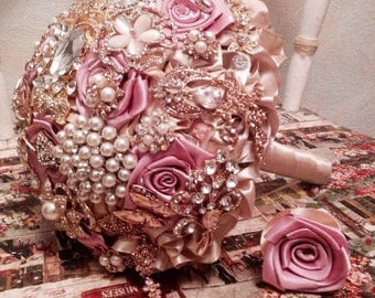 wedding brooches bouquet rose pink