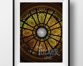 Stained Glass Ceiling - Chicago, Illinois {travel wall art print photo photography abstract}