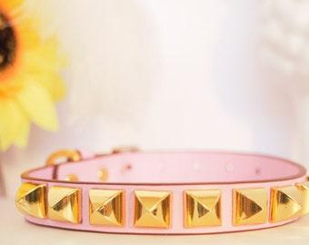 Studded Pastel Pink Dog Collar
