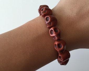 Brown Skeleton Head Bracelet