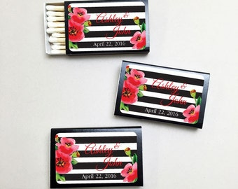 50 pcs Personalized Stripes and Poppies Matchboxes (MICPSPMBB29)