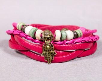Leather Bracelet- Hamsa Charm Bracelet- Lucky charm Bracelet- Braided Leather-LB1