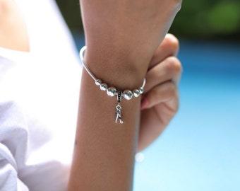 Sterling Silver bracelet, Silver flower leaf and balls charm bracelet, Silver bracelet, Silver wrist chain (BS6)