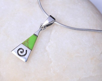 Silver And Green Marble Stone Pendant, Sterling Silver Gift, Silver Gifts, Stone necklace, 925 Silver, Boho Jewelry, Dainty Charm (P33/2)