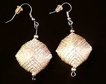 Silver Paper Bead Basket Weave Earrings