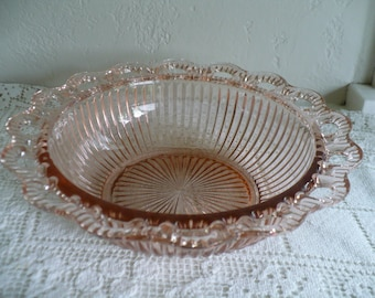Hocking Pink glass serving bowl, Old Colony, Lace Edge, Open Lace 9.5 inch