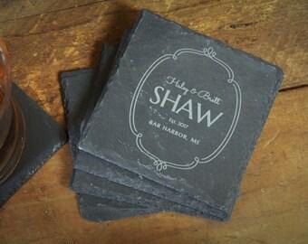 Custom Coasters, House Warming Gift, Bride Groom Gift, Slate Coasters, Wedding Gift, Custom Coaster Gift, Slate Gift - Set of 4 - LES1000067
