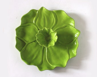 Leaf Shaped Serving Platter with Attached Dish
