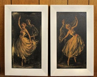 Vintage Framed Prints of Dancers - pair