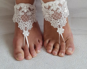 barefoot sandals,ivory lace shoes, wedding sandals, bridal accessories, free shipping!