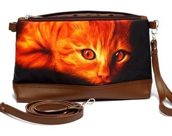 Cat Cosmetic Bag, Cat Makeup Case, Cat Zippered Pouch, Cat Pencil Pouch, Cat Pencil Case, Cat Brush Case, Cat Jewelry Bag, 8055