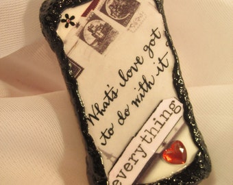 Altered Domino Pendant~What's Love Got To Do With It..Everything