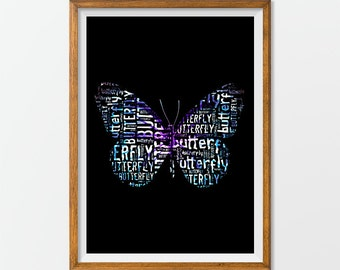 Butterfly Art Print Artwork, Buttefly Printable Poster Wall Art, Butterfly Download