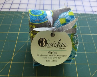 """Jelly roll 3 Wishes Blue Lagoon Strips 20- 2 1/2"""" X 42"""""""