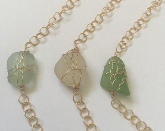 14k gold fill Wire wrapped sea glass bracelets