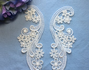 White Venice Lace Applique Pair, Wedding Bridal applique, Lace applique set