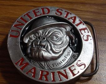 United States Marines Enameled Belt Buckle