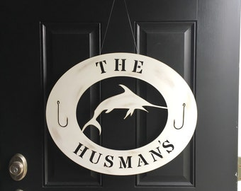 Coastal marlin door or wall sign