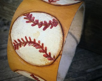 Baseball leather cuff