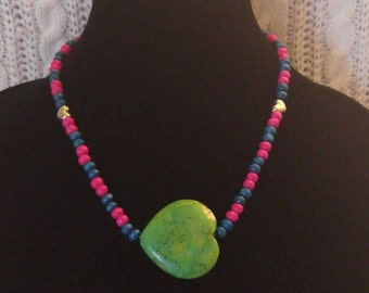 Howlite Green Heart Necklace