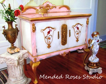 Amazing hand painted baroque buffet/server art furniture annie sloan chalk paint antiqued distressed one of a kind custom piece
