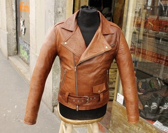 Brown leather jacket lamb leather nail years 70 sz M