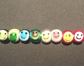 Murano glass smiley face beads/charms