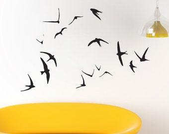 Swallow Wall Art - Flying Birds wall decal - birds wall decal - Swallow Wall Stickers - Flock of birds - Flying Birds - living room bedroom