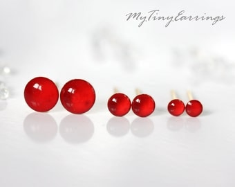 Set of 3 Pairs of Red Glossy Piercing Earrings Mini Tiny 6, 4, 3 mm Stainless Steel Gold Plated Posts plus High Quality Epoxy Resin