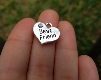 5 pieces Stamped Heart, Best Friend Heart Charm, Heart Charm with Rhinestone, Best Friend Charm B32659H