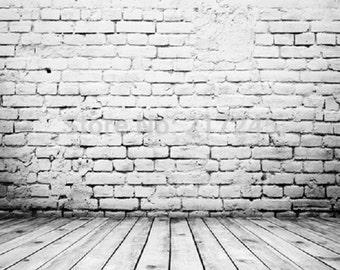 PHOTOGRAPHY Backdrop Wallpaper Grey Vinyl Prop Brick Wood Wall 5X7 FT (150CM x 200CM)