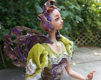 One Of A Kind art doll (OOAK), hand sculpted in Sculpey polymer clay Collectible doll - Fairy Doll - Art doll - OOAK doll - Hand made doll