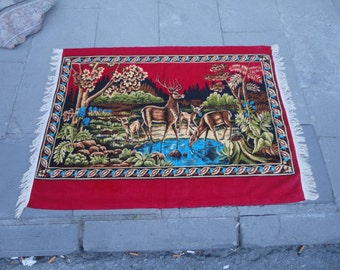 Turkish cotton wall rug,illustrated deers in the nature,39'' x 29'' inches