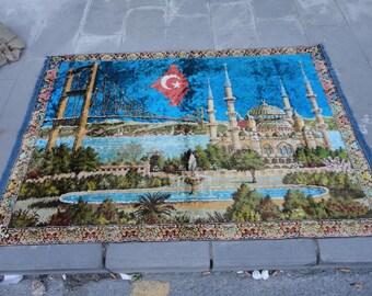 Turkish velvet wall hangings rug ,illustrated Bosphorus-Turkish flag-Hagia sofia,67'' x 47'' inches