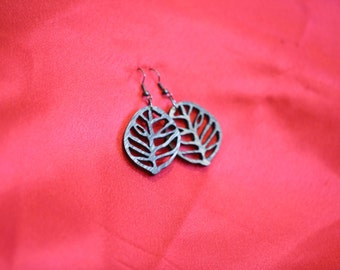 Authentic leaf-looking earrings (hollow). Gift for women. Free shipping.