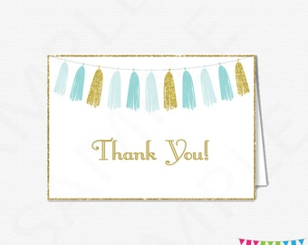 Blue Gold Thank You Cards, Baby Shower Thank You Cards, Boy Baby Shower, Printable Thank Yous, Thank You Cards Baby, Instant Download TASBG