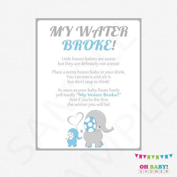 Games For A Baby Shower For A Boy: My Water Broke Baby Shower Game Elephant Baby Shower Games