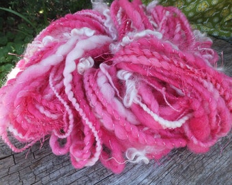Handspun wool art yarn - Rose Bouquet