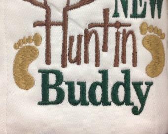 Daddy's new huntin buddy burp cloth