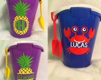 Personalized Beach Sand Buckets with Shovel