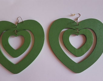 Large Wooden Green Heart Earrings