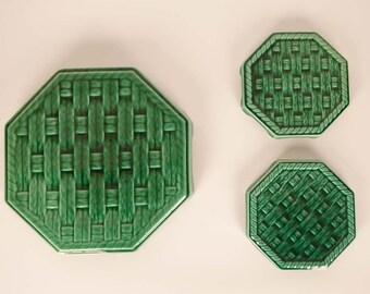 Set of vintage trivet or mat, Digoin,green ceramic, 1950