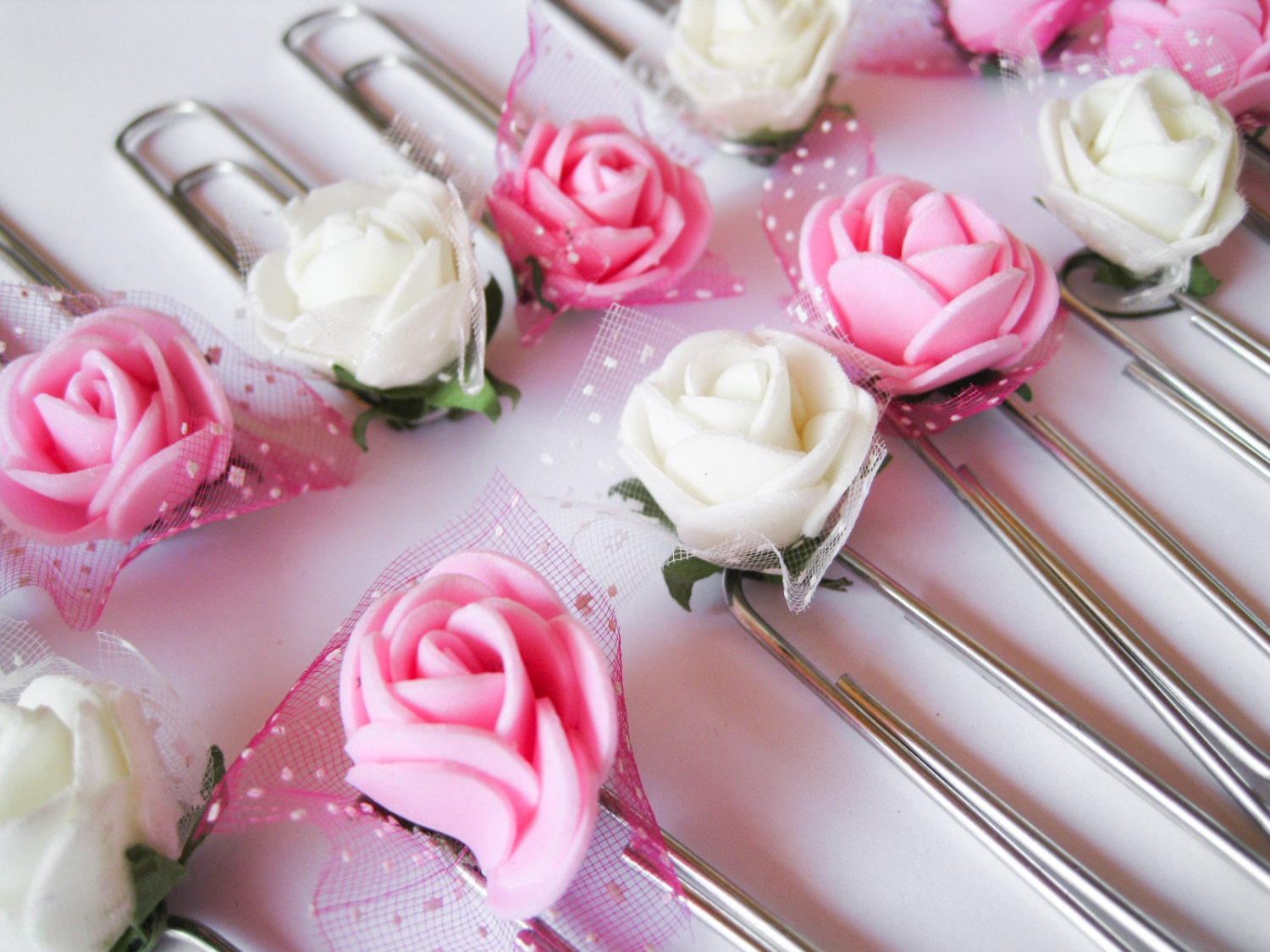 12 White Rose Page Clips, Party Favors, Bookmark, Pink Paper Clips ...