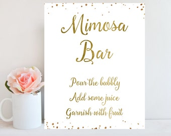 Mimosa Bar Sign, Bubbly Bar Sign, Wedding Sign, Mimosa Bar Printable, Champagne Sign, Gold Confetti, Bridal Shower, Baby Shower Sign