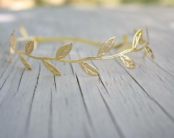 Gold Leaf Crown Headband, Newborn-Adult, Headbands,Boho Headband,Gold Leaf
